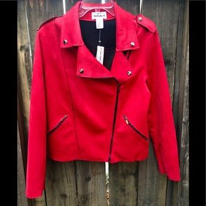 Red FAUX LEATHER Motorcycle Jacket Size LG $108
